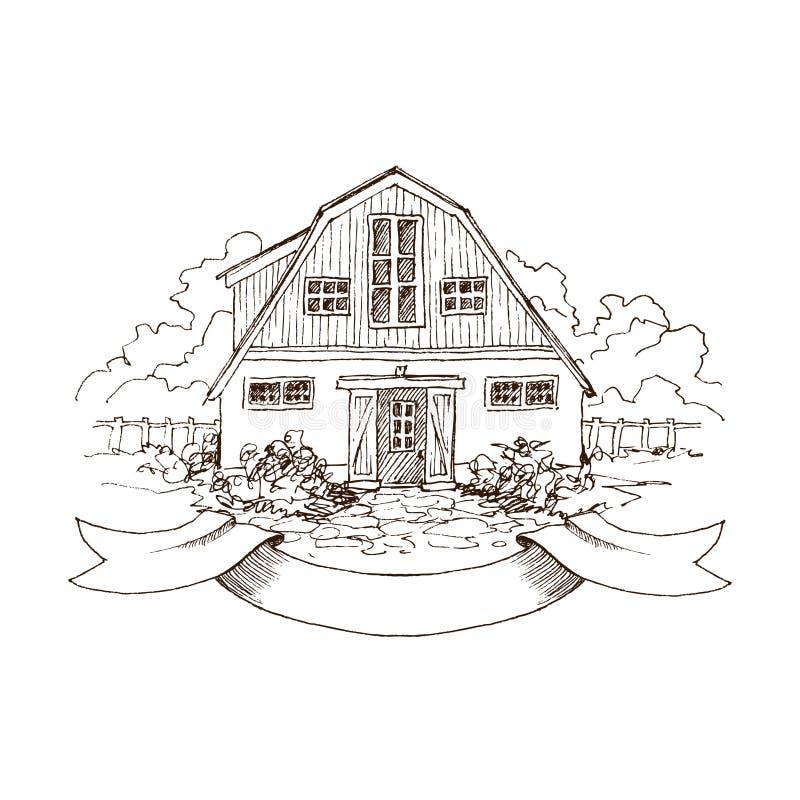 Paisaje rural con el cortijo y el jardín viejos Ejemplo dibujado mano en estilo del vintage Granero residencial grande con a ilustración del vector