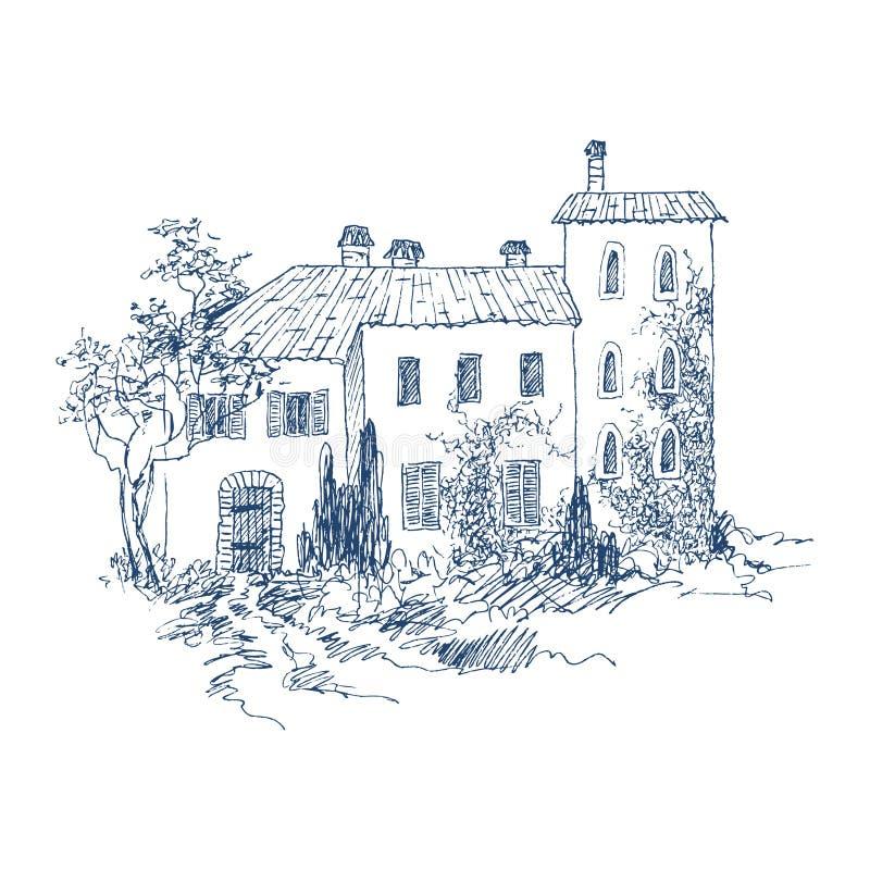 Paisaje rural con el cortijo y el jardín viejos Ilustración drenada mano Casa italiana del país de la piedra con las tejas de tej libre illustration