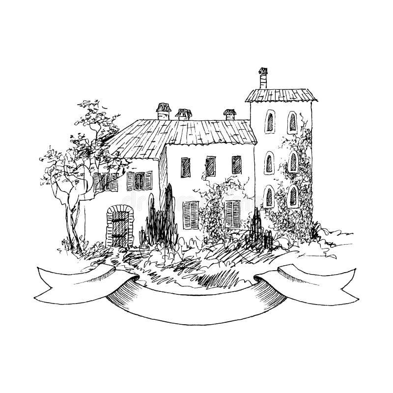 Paisaje rural con el cortijo y el jardín viejos Ilustración drenada mano Casa italiana del país de la piedra con las tejas de tej ilustración del vector
