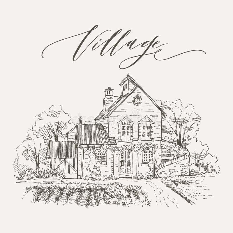 Paisaje rural con el cortijo y el jardín viejos Ilustración drenada mano Diseño del vector libre illustration