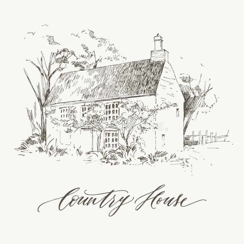 Paisaje rural con el cortijo y el jardín viejos Ilustración drenada mano Diseño del vector ilustración del vector