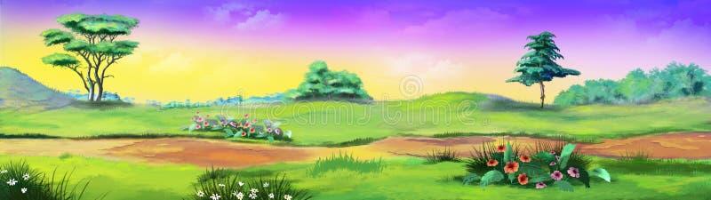 Paisaje rural con la trayectoria y las flores contra el cielo púrpura ilustración del vector