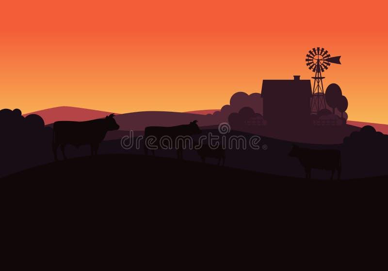Paisaje rural con las vacas de la granja y de la manada de la leche ilustración del vector