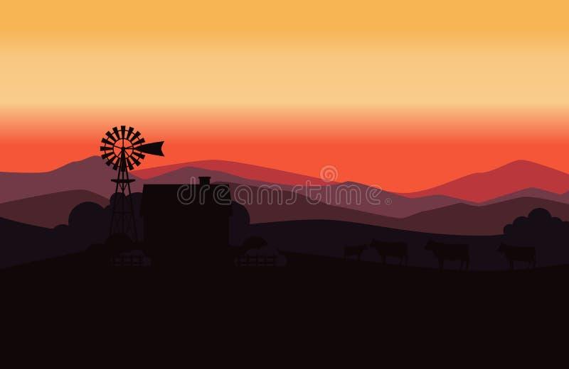Paisaje rural con las vacas de la granja y de la manada de la leche stock de ilustración