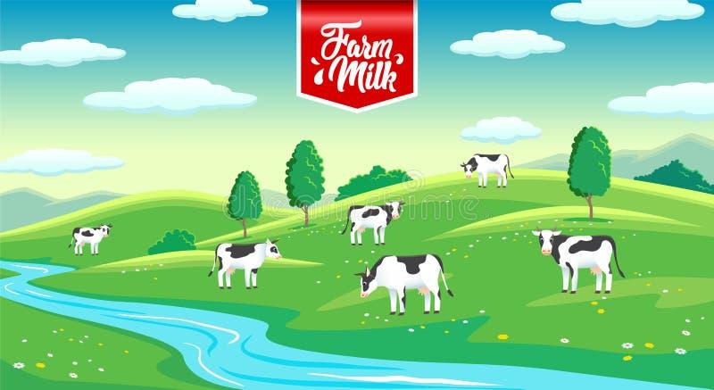 Paisaje rural con las vacas en el prado, leche de la granja stock de ilustración