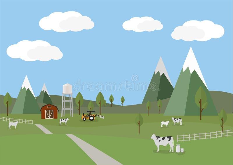 Paisaje rural con las vacas y el fondo de la granja del estilo plano libre illustration