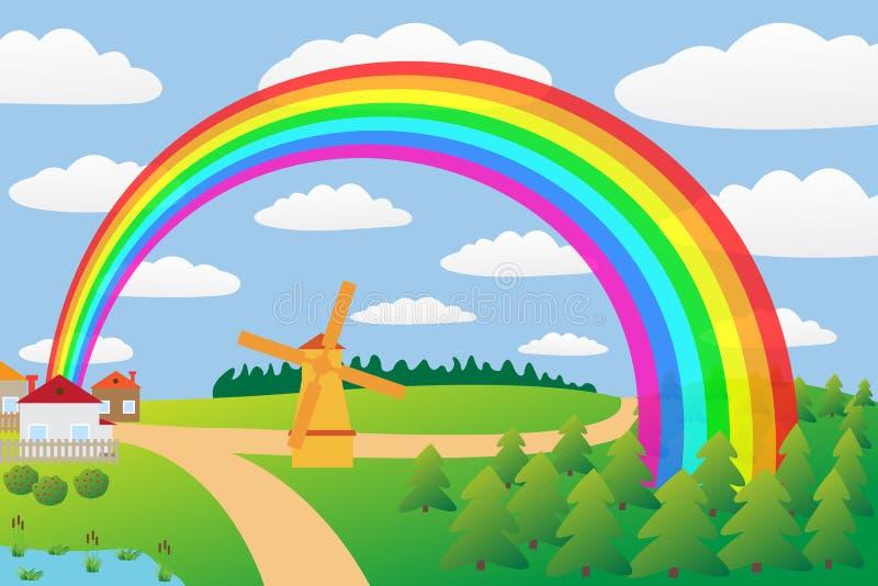 Paisaje rural con un arco iris. libre illustration