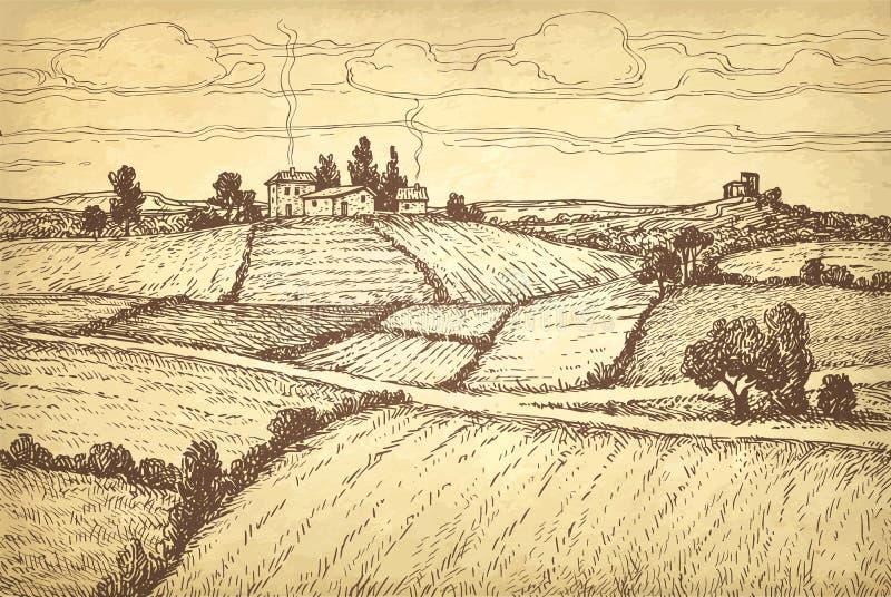 Paisaje rural del bosquejo exhausto de la tinta de la mano ilustración del vector
