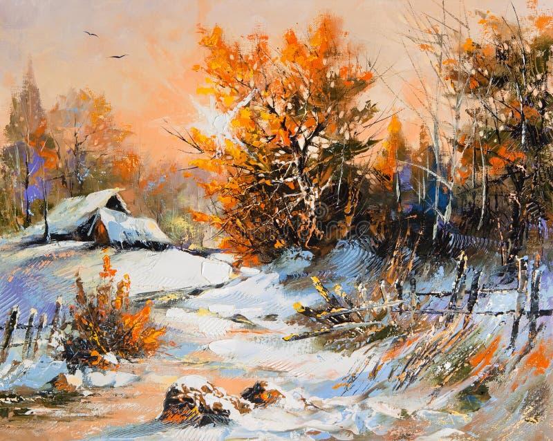 Paisaje rural del invierno stock de ilustración