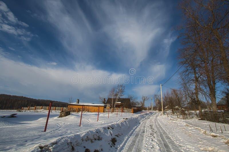 Paisaje rural El pueblo evka de Vorob ' Región de Kaluga Rusia fotografía de archivo