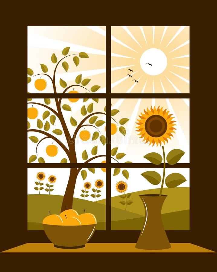 Paisaje rural fuera de la ventana libre illustration