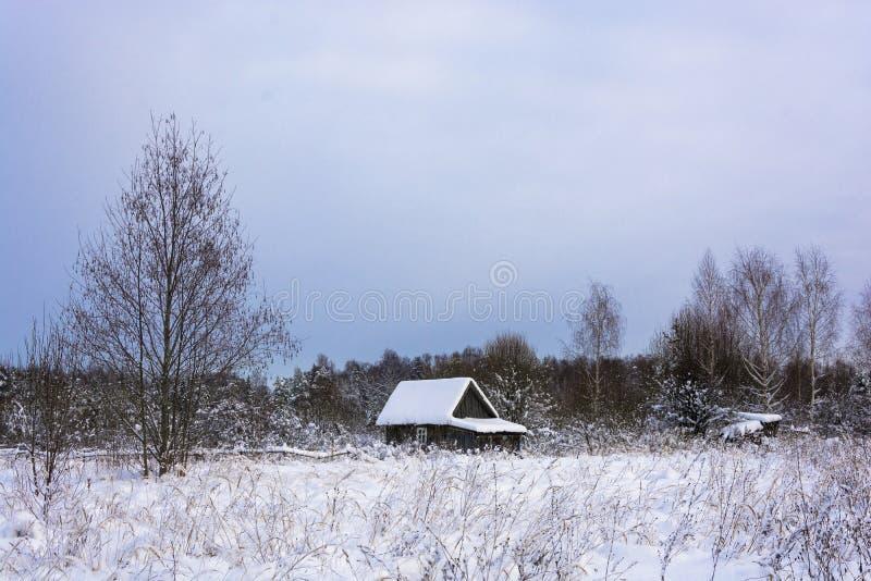 Paisaje rural hermoso en un día nublado del invierno escarchado fotos de archivo
