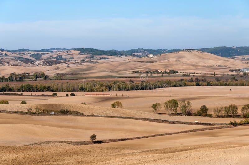 Paisaje rural hermoso Toscana cerca de Pienza en otoño imagen de archivo libre de regalías