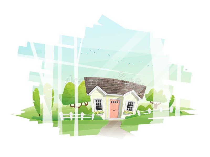 Paisaje rural hermoso y un fondo de la pequeña casa stock de ilustración