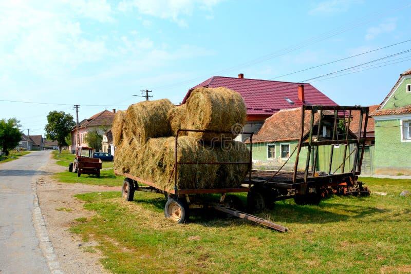 Paisaje rural típico en el pueblo Mercheasa, Transilvania, Rumania foto de archivo libre de regalías
