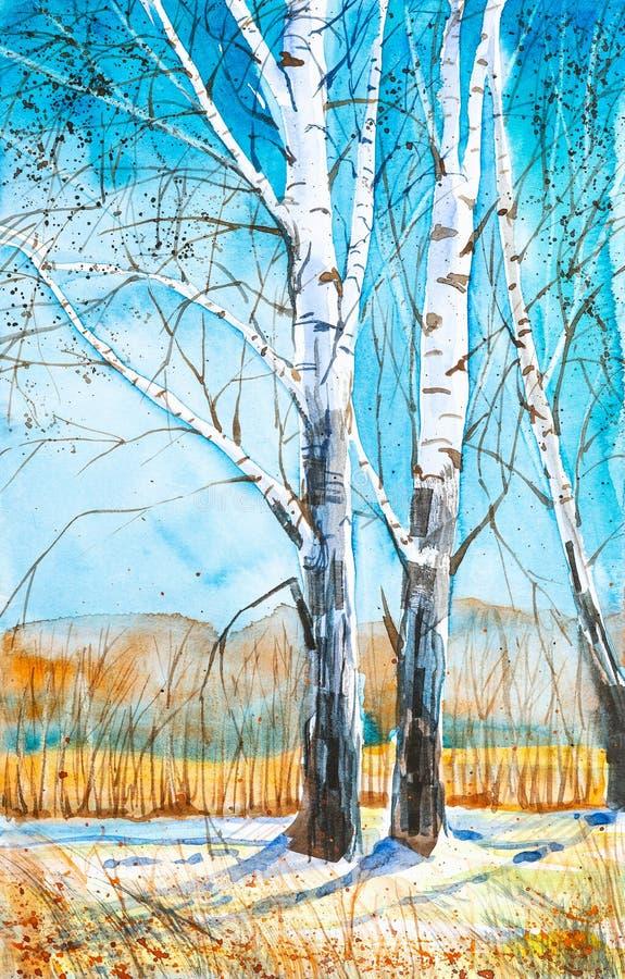 Paisaje ruso del bosque con los abedules hermosos en un claro con nieve de fusi?n stock de ilustración