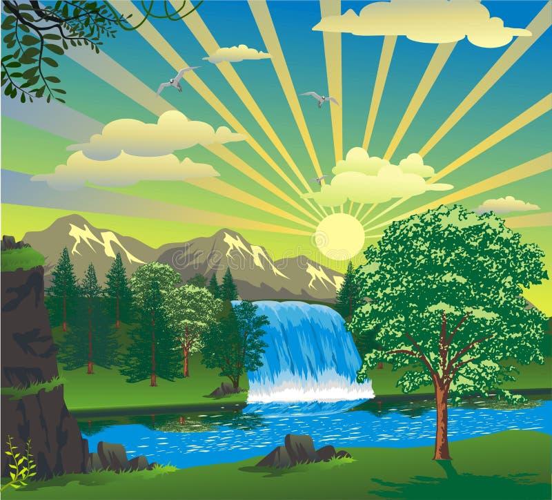 Paisaje - salida del sol sobre una cascada stock de ilustración