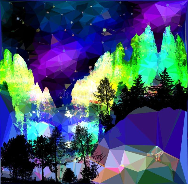 Paisaje septentrional de la noche con aurora, montañas y siluetas de árboles fotos de archivo