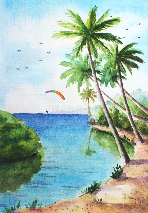 Paisaje soleado tropical stock de ilustración