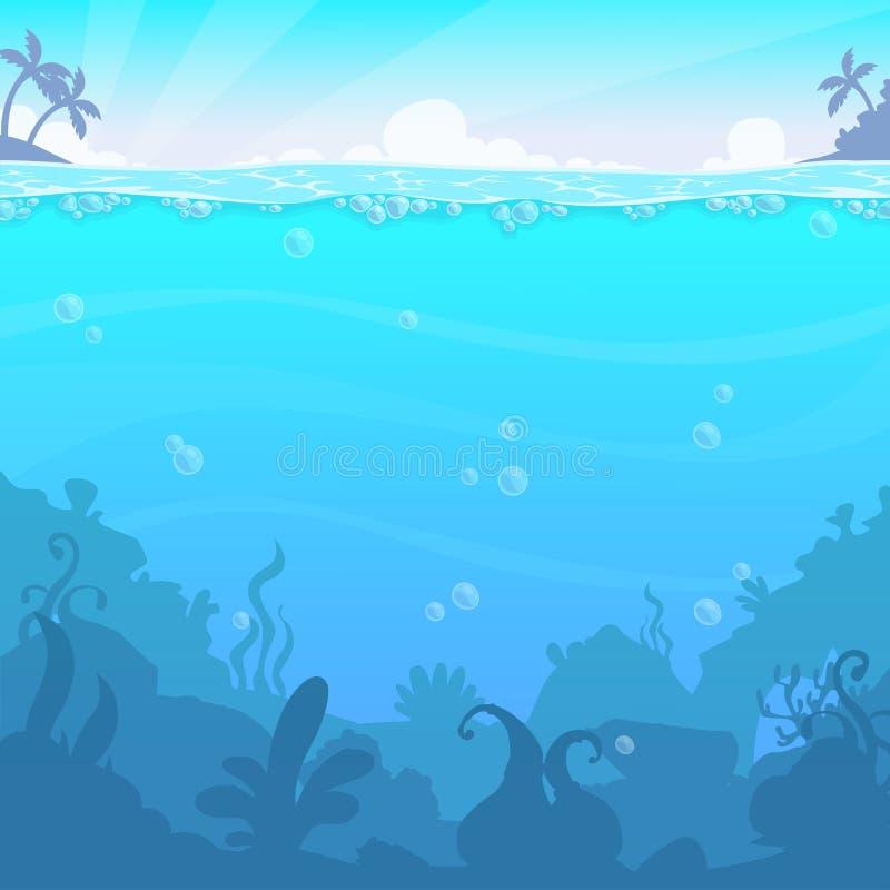 Paisaje subacuático, illasteration del vector Ubicación inferior hermosa del mar stock de ilustración