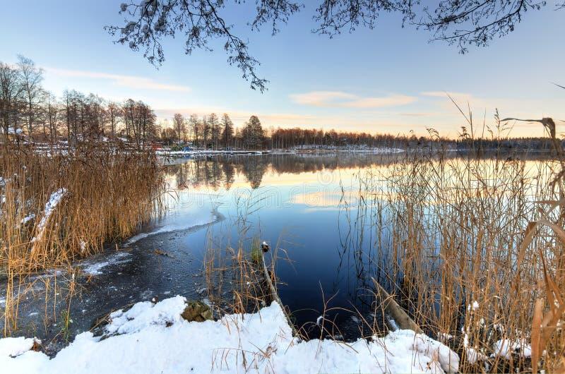 Paisaje sueco idílico del lago en invierno imagen de archivo libre de regalías
