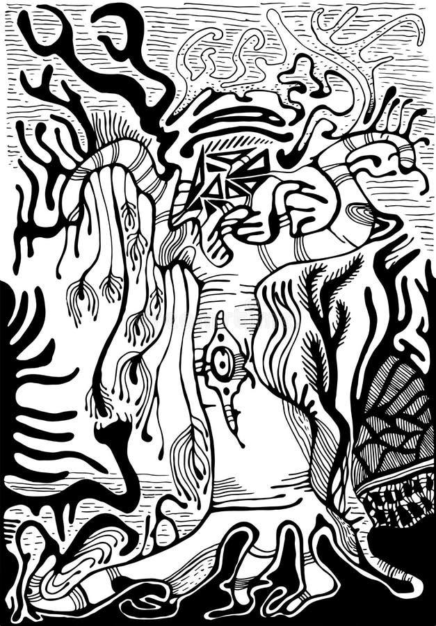 Paisaje surrealista blanco y negro Bosque extranjero de la fantasía, aislante libre illustration