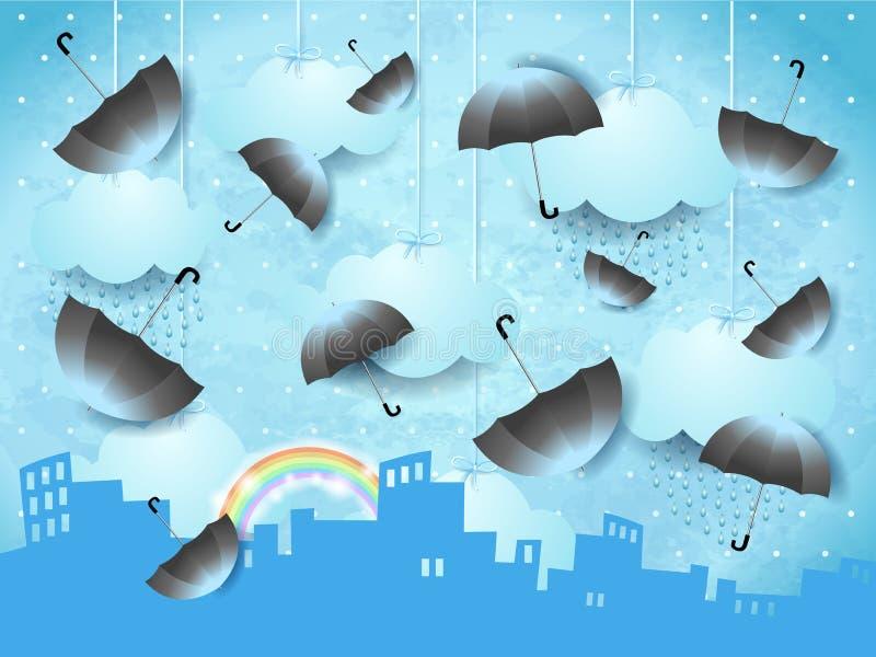 Paisaje surrealista con horizonte urbano y paraguas voladores stock de ilustración