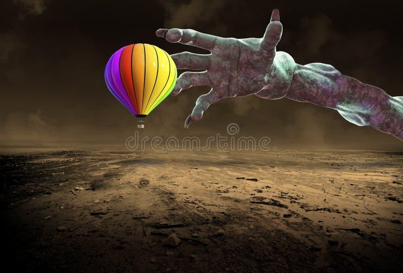 Paisaje surrealista, globo del aire caliente, mano del monstruo foto de archivo libre de regalías