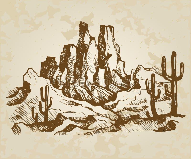 Paisaje típico de Arizona stock de ilustración