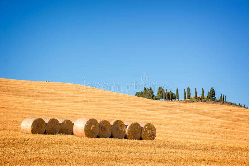 Paisaje típico hermoso del ` Orcia de Val d en Toscana con las balas de heno en un campo en el verano, ` Orcia, Toscana Italia de fotos de archivo libres de regalías