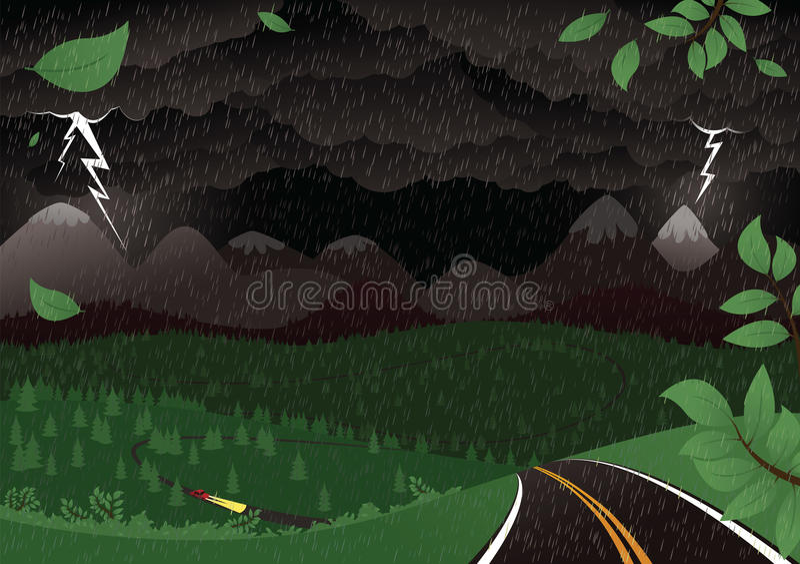 Paisaje tempestuoso de la noche libre illustration
