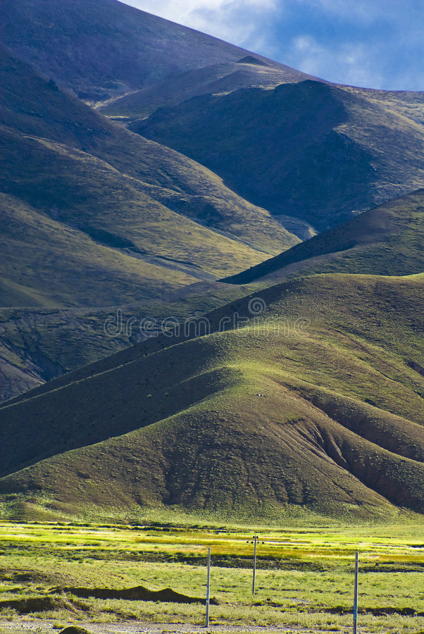 Paisaje tibetano montañoso imagen de archivo libre de regalías