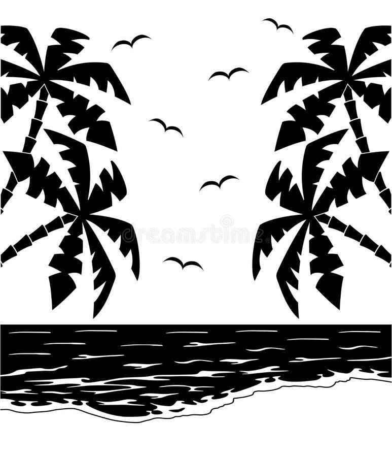 Paisaje tropical blanco y negro libre illustration