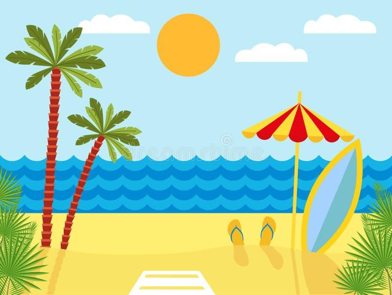 Paisaje tropical con la playa, el mar y las palmeras Fondo del verano con el mar, palmeras, parasol de playa, tabla hawaiana libre illustration