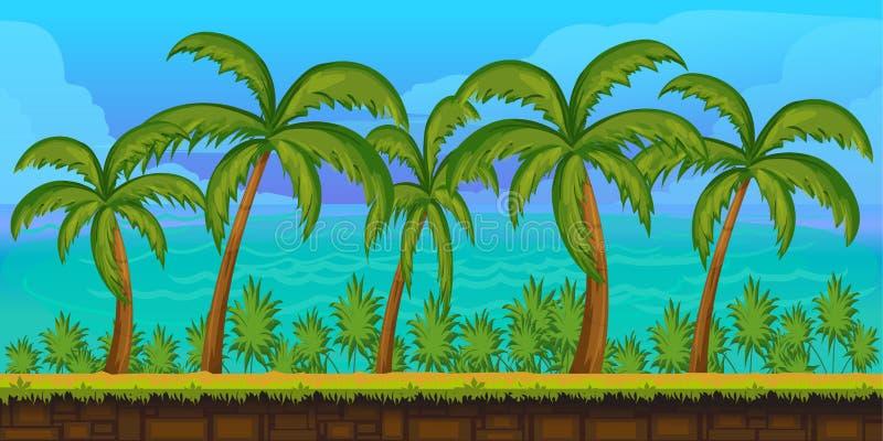 Paisaje tropical de la historieta inconsútil, fondo interminable para el juego stock de ilustración