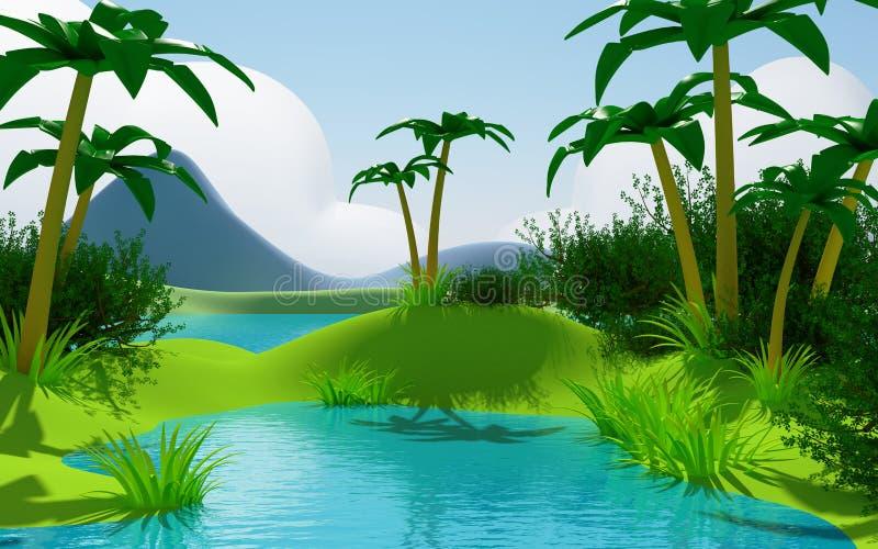 Paisaje tropical de la selva de la historieta 3d ilustración del vector