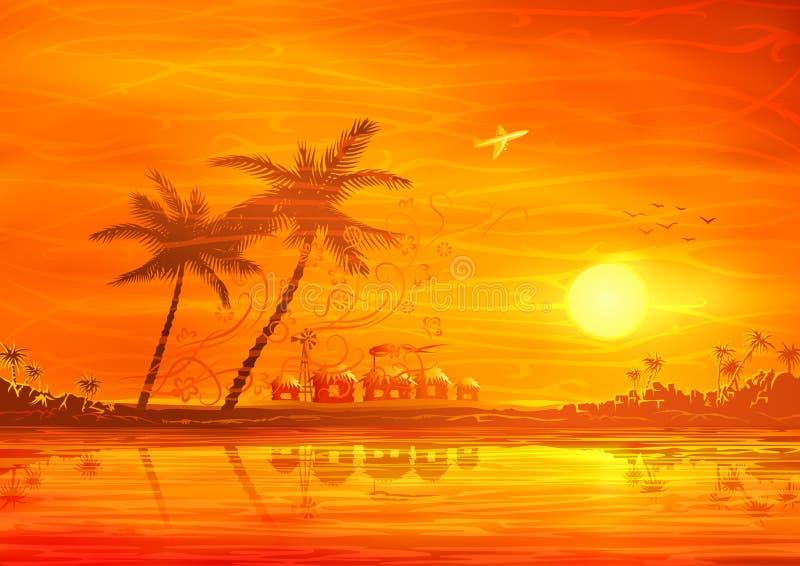 Paisaje tropical de la tarde ilustración del vector