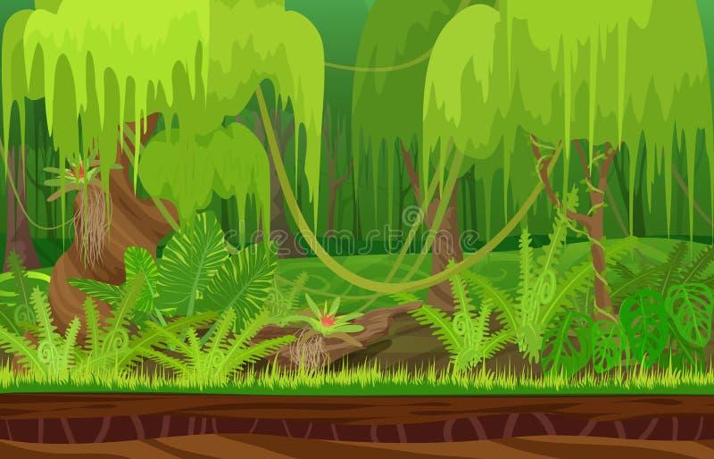 Paisaje tropical del bosque de la selva de la lluvia de la naturaleza del color de la historieta en día del sol con la hierba ilustración del vector