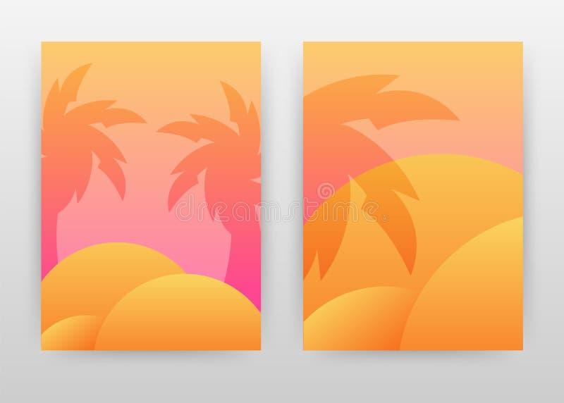 Paisaje tropical del diseño de negocio de la palmera para el informe anual, folleto, aviador, cartel Vector del fondo de la sombr stock de ilustración