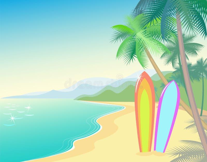 Paisaje tropical del verano de la playa Onda de la costa caliente ilustración del vector