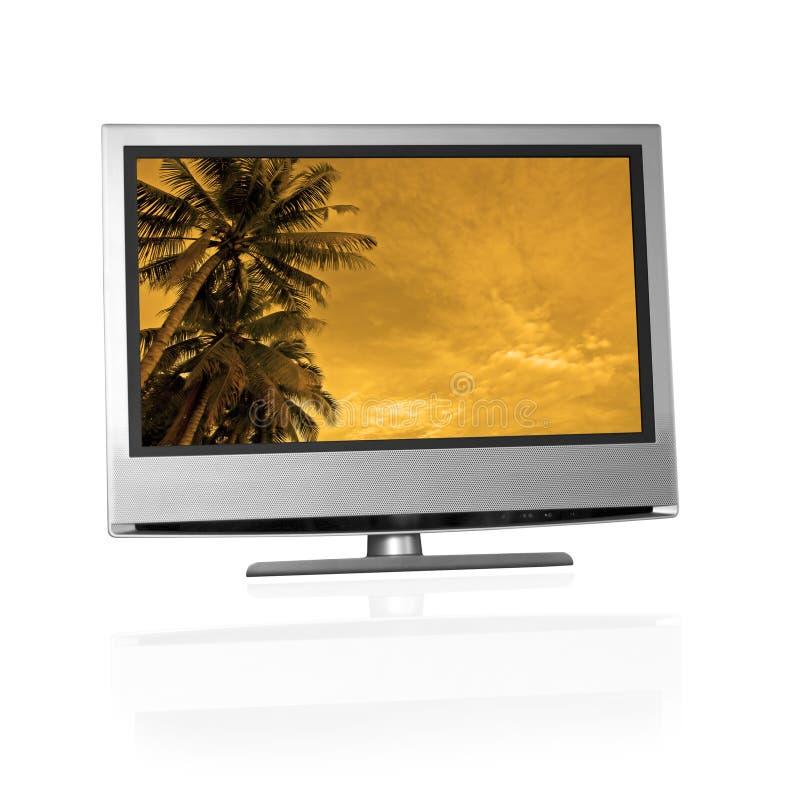 Paisaje tropical en la pantalla plana TV foto de archivo libre de regalías