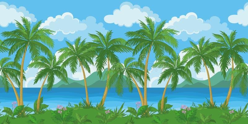 Paisaje tropical inconsútil exótico del mar stock de ilustración