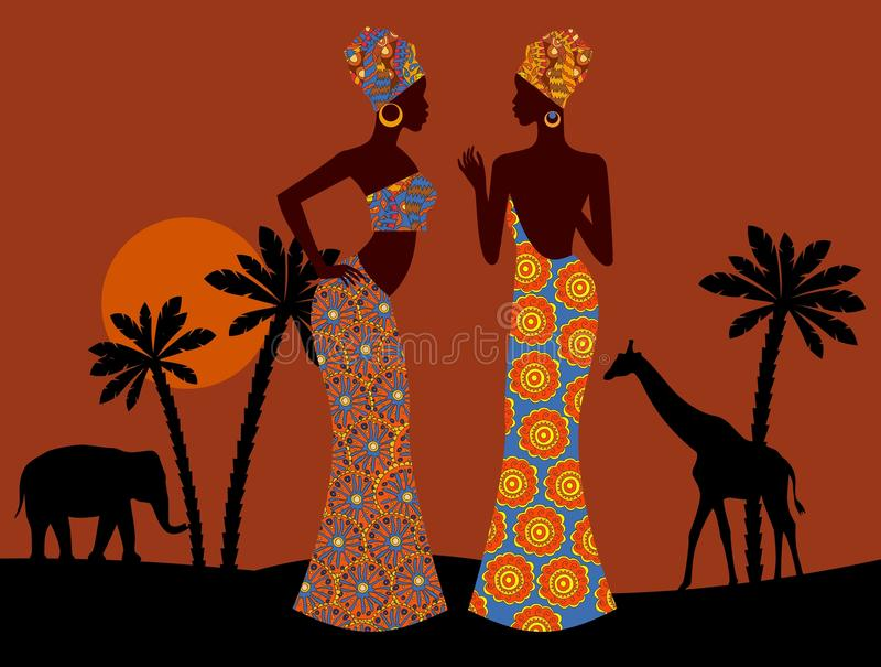 Paisaje tropical Mujer negra hermosa Sabana africana ilustración del vector