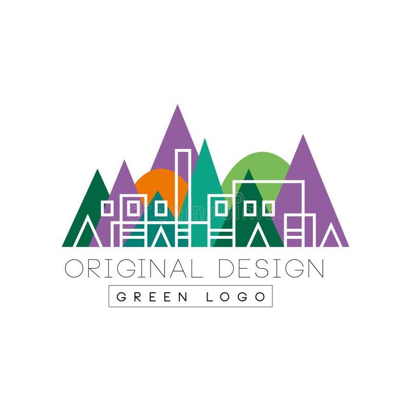 Paisaje urbano abstracto con el edificio linear de la ciudad contra fondo colorido del parque Logotipo creativo para las propieda ilustración del vector