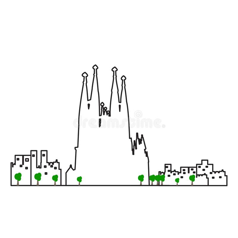 Paisaje urbano aislado de Barcelona ilustración del vector