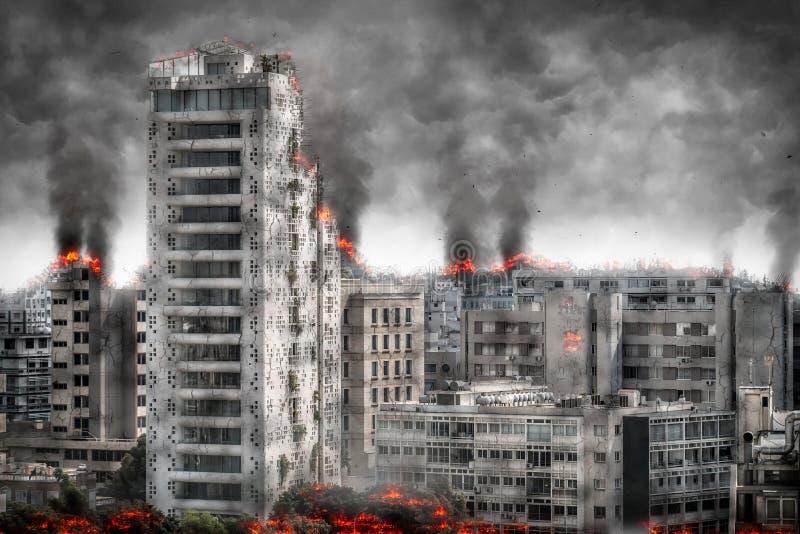 Paisaje urbano apocalíptico Ejemplo de Digitaces stock de ilustración