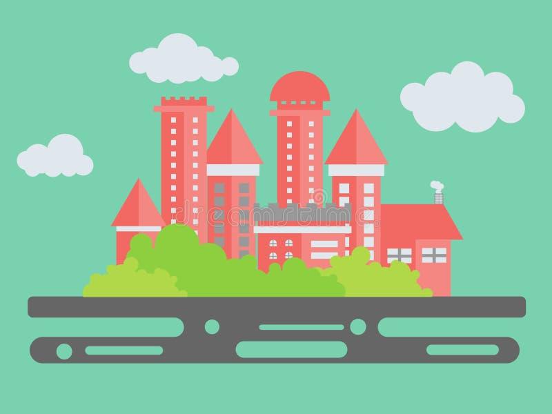Paisaje urbano Arquitectura de la ciudad en un estilo minimalista plano Edificios con el árbol en el cielo stock de ilustración