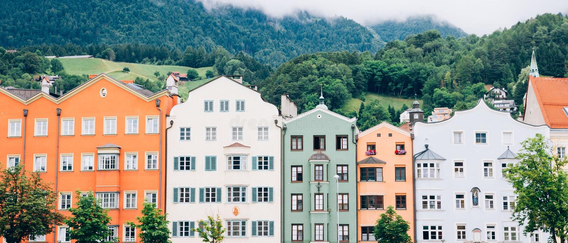 Paisaje urbano Austria de Innsbruck foto de archivo