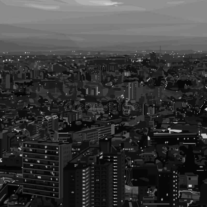 Paisaje urbano blanco y negro en diseño polivinílico bajo ilustración del vector