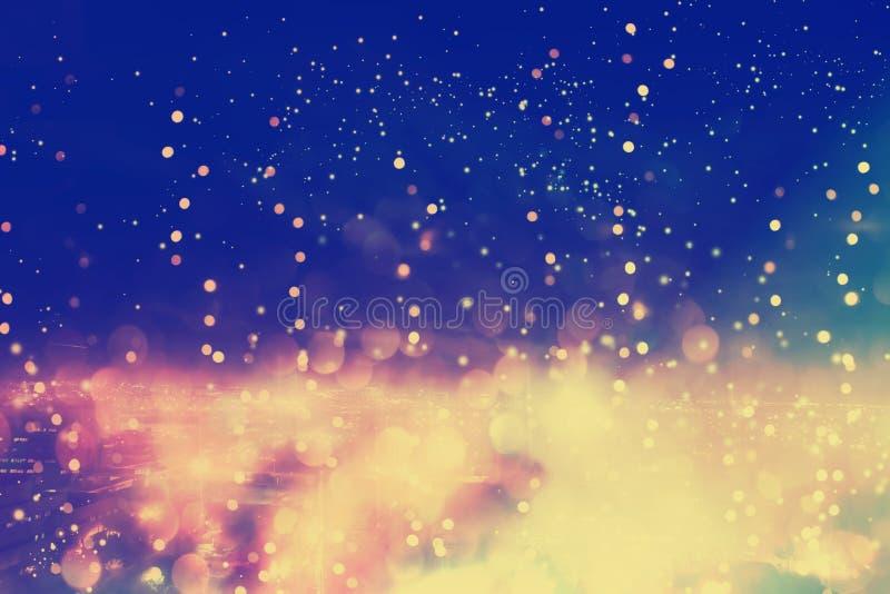 Paisaje urbano borroso y fondo ligero brillante en la noche stock de ilustración